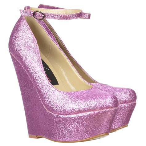 onlineshoe pink glitter wedge platform shoes ankle