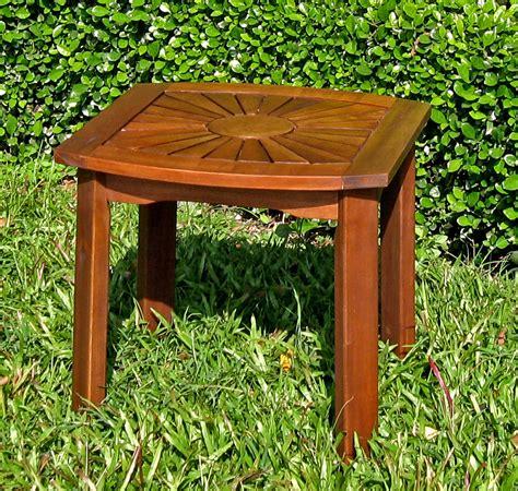 Acacia 20 Inch Sunburst Square Patio Table In Patio Side Sunburst Outdoor Furniture