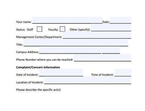 employee complaint form employee complaint form 8 free sles exles formats