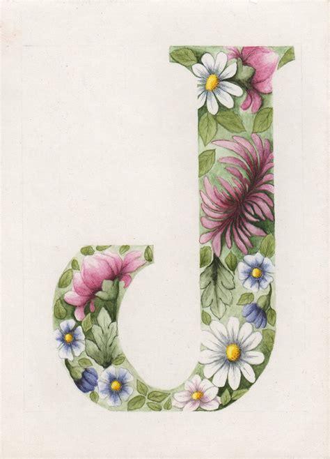 Floral J original floral letter j