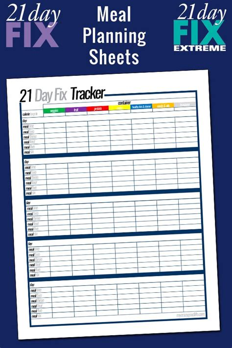 printable meal planning sheets free printable 21 day fix meal planning sheets my crazy