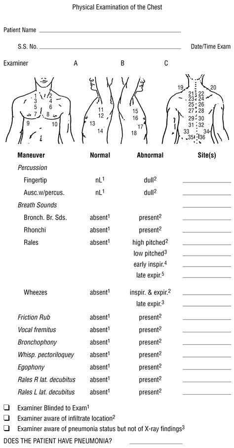 physical assessment card template diagnosing pneumonia by physical examination pulmonary
