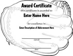 Softball Certificate Templates Free by Baseball Award Certificate Template