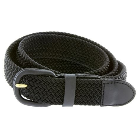 7001 leather covered buckle woven elastic stretch belt 1 1
