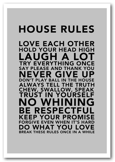 family house rules framed print house rules 3 grey text quotes framed art giclee art print