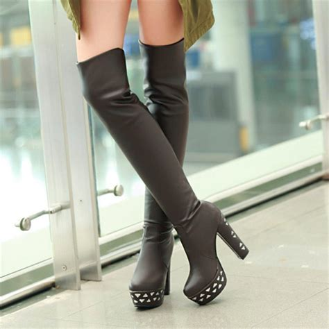 black chunky heel thigh high leather boots high heel fur