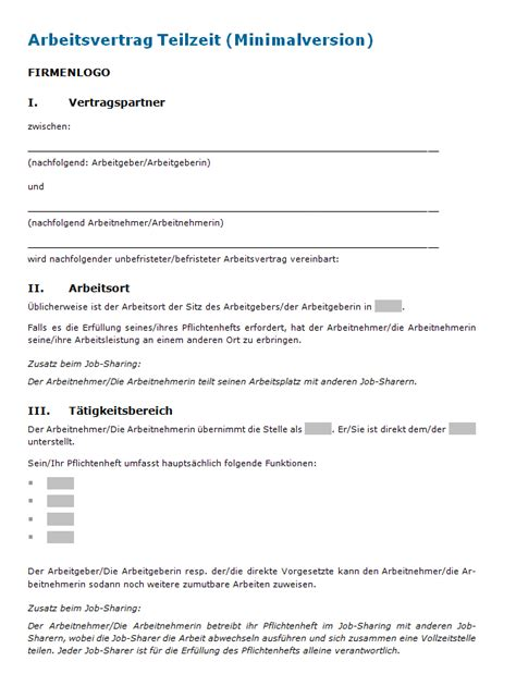 Muster Vertrag Schweiz Arbeitsvertrag Teilzeit Muster Zum