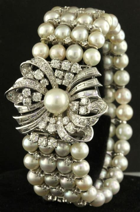 antique heavy  white gold ct  diamondmm pearl