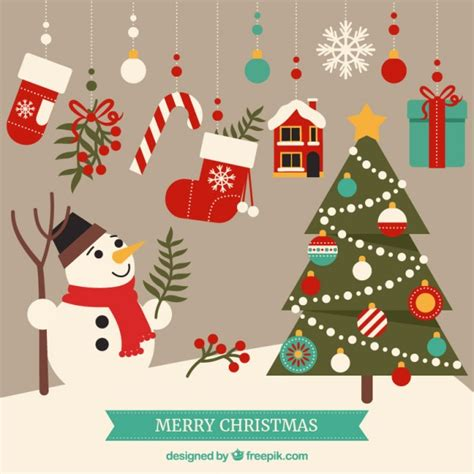 cute merry christmas elements vector