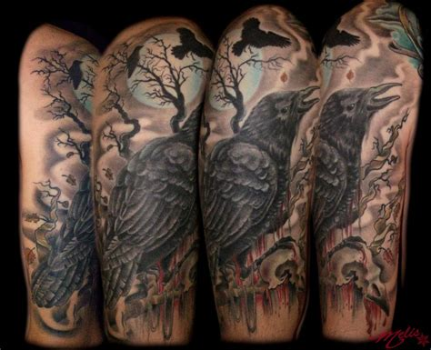 raven and skull tattoo bird skull by fusco tattoonow