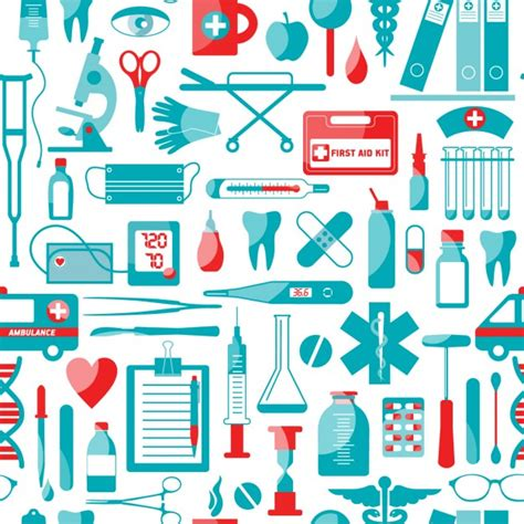 cute medical pattern medical and health elements pattern vector free download