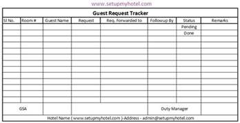 front desk guest request tracker format