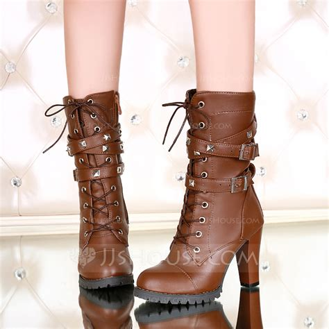 Chunky Heel Mid Calf Boots s leatherette chunky heel pumps boots mid calf boots