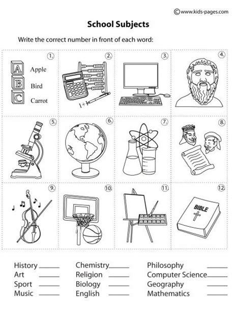 school objects matching b w worksheets kola pinterest school subjects matching b w worksheets english