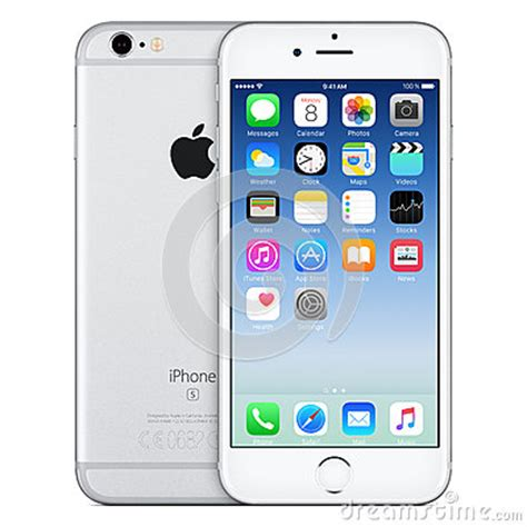 silver apple iphone 6s front view with ios 9 on the screen editorial photography image 65405292