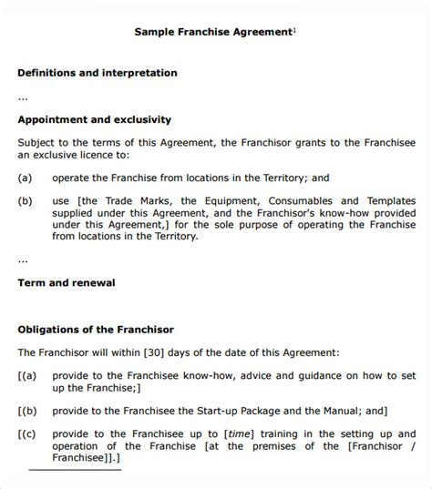 franchise template franchise agreement 9 pdf doc