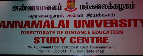 Mba Distance Learning Centre In Chennai by Annamalai Distance Education Study Centre