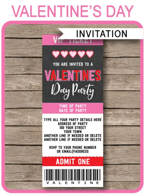 valentines day tickets s day ticket invitations template chalkboard