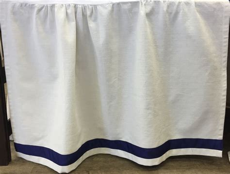 Navy Bed Skirt by Bed Skirt Panel White With Navy Ribbon Bed Skirts