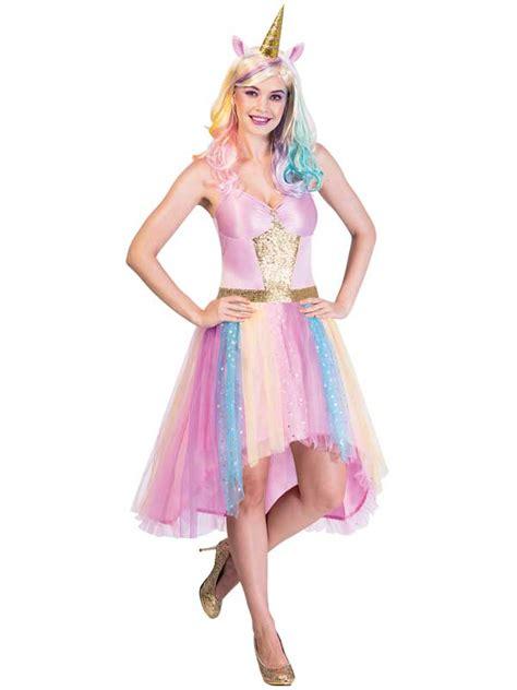 adults ladies rainbow mystic unicorn fancy dress costume