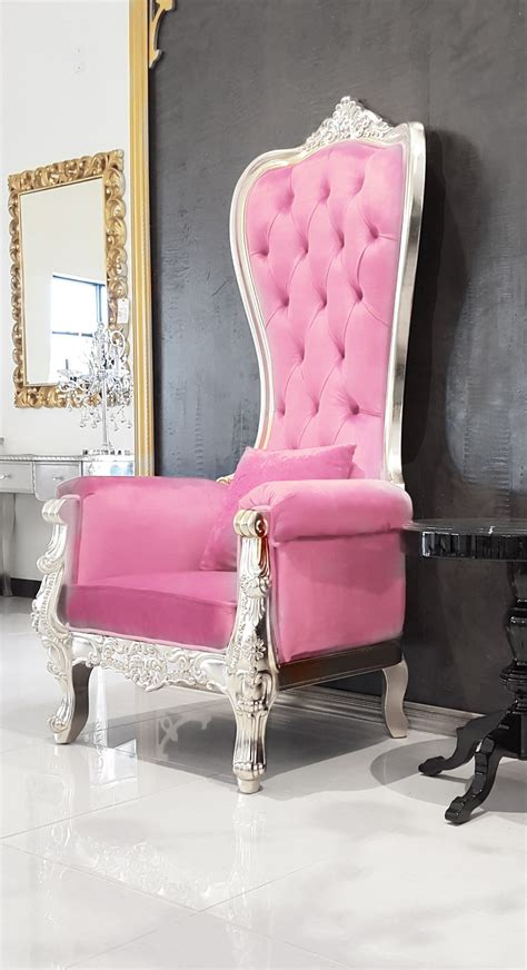 High Backed Throne Chair by Pink Leather Baroque Throne Chair High Back Chair
