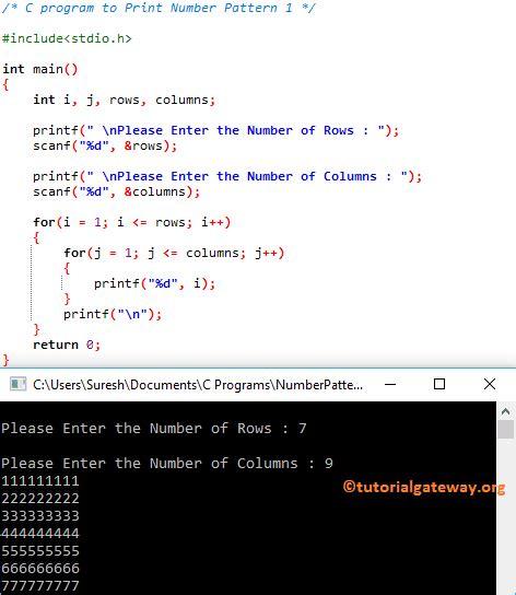 c program for number pattern c program to print number pattern 1