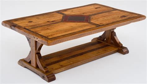 inlay coffee table rustic coffee tables reclaimed barn wood trestle base