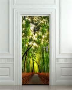Door Wall Mural door wall sticker cover bamboo forest green trees way 30x79 quot 77x200cm