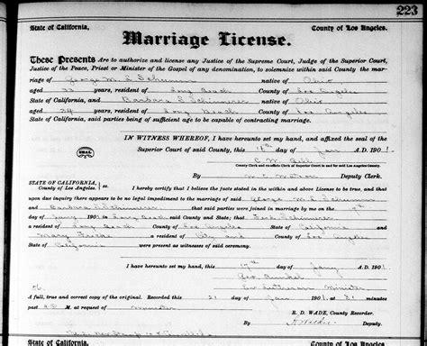 Record Marriage License California Schumm Schinnerer California Wedding 1901 187 S Chatt