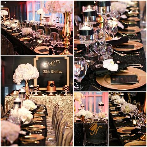 themes for gold platinum black and gold 30th birthday party ideas 30th birthday
