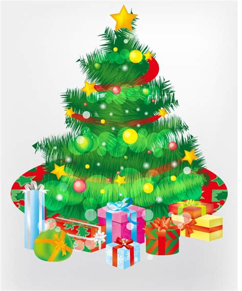 free christmas tree and gift boxes vector graphic free