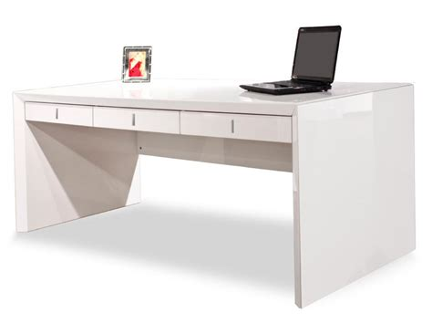 Ultra Modern Desk Ultra Modern White Lacquer Executive Desk With Three Drawers Officedesk