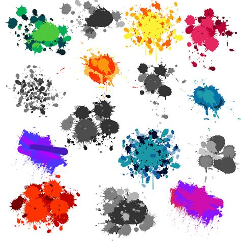 Vector Clip Of A Set Of Different Colored Paint Splash Vector Clipart Best