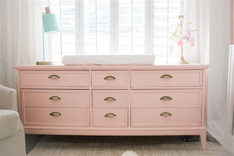 tall dresser for baby room bright white pastel baby girl nursery reveal gold