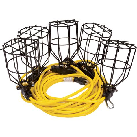 construction string lighting klutch 50ft metal string lights 5 light string 125