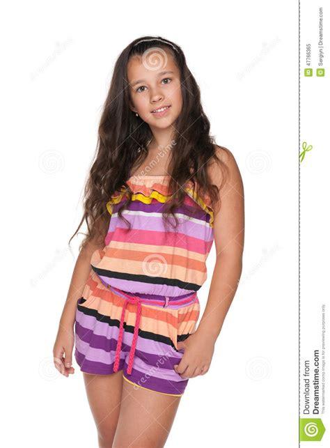 pretty preteen model photos pretty preteen girl on the white background stock image