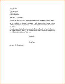 Resignation Letter Due To Relocation by 2 Resignation Letter Due To Relocationreport Template Document Report Template