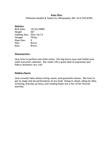 best photos of baby modeling resume sles model resume template beginner acting resume
