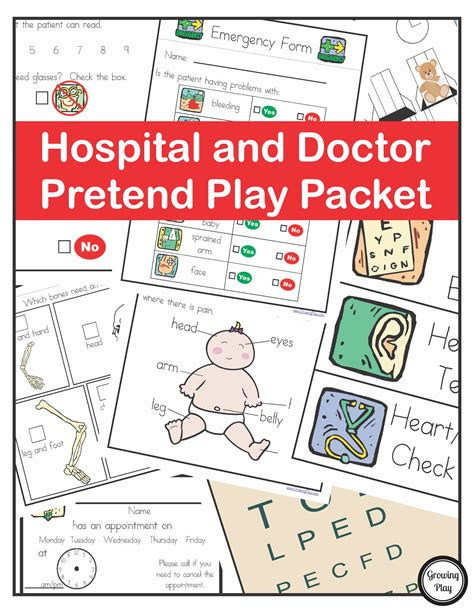 Paket Play hospital doctor pretend play packet growing play