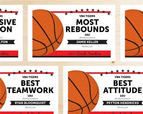Editable Basketball Award Certificates Instant Download Basketball Award Templates