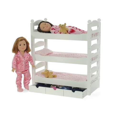 beds for dolls doll bunk bed triple 18 inch beds ladder gingham bedding