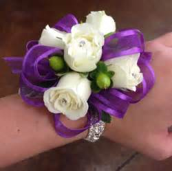 purple corsage purple ribbon white wrist corsage corsages purple ribbon wrist corsage