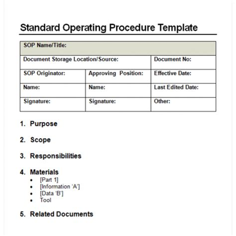 free standard operating procedure template word 2010 9 standard operating procedure sop templates word