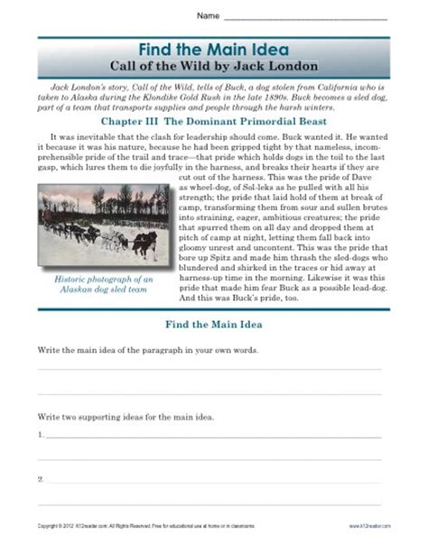 Middle School Idea Worksheets by High School Idea Worksheet About The Book Call Of