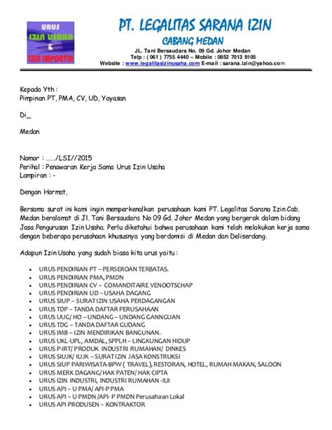 surat penawaran pengurusan izin usaha dan izin import medan sumater