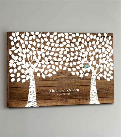 wedding canvas guest book 225 guest canvas wedding guest book wood two double tree