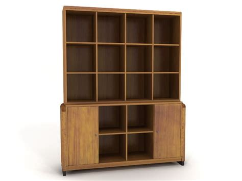 standing wooden bookcase 3d model 3dsmax files free