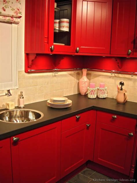 painting kitchen cabinets red black cabinets black appliances red walls kitchen