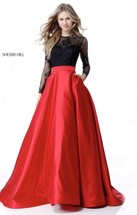 sherri hill  long sleeve satin ball gown prom dress
