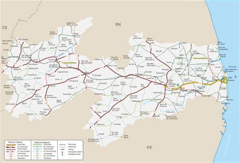 mapa rodoviario da paraiba geografia infoescola